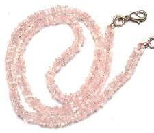 """Natural Gem Rose Quartz Fine Quality Smooth 4MM Heishi Square Bead Necklace 16"""""""