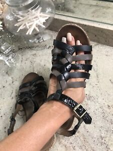 Cobb Hill Black Leather Sandals Gladiator T-Strap Wedge Gray Women's  8 W