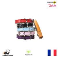 Collier Pour Chien Chiot Chat Cuir PU Réglable XXS XS S M L  Neuf FR