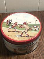 "Vintage Cherrydale Farms BASEBALL Metal Storage Tin Cashew Butter Crunch  5"""