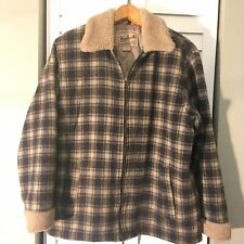 Vintage Woolrich Sherpa Blue Plaid Wool Field Jacket Women's Size  Med Coat M