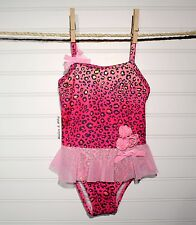 hula star ~ One-Piece Toddler Girls Swimsuit ~ Pink ~ Animal Print ~ 2T ~ NWT