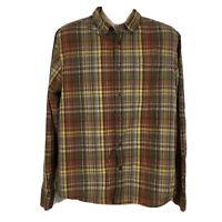Prana Mens Long Sleeve Button Down Plaid Shirt Brown Organic Cotton Size Large L