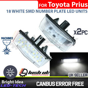 2x Toyota Prius Matrix Venza WHITE 18 SMD LED REAR NUMBER LICENCE PLATE UNITS