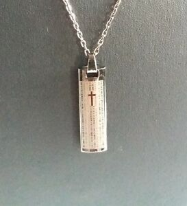 """STAINLESS STEEL CROSS BLOCK PENDANT ON GUN METAL COLOURED 20""""CHAIN/NECKLACE NEW"""