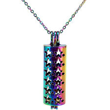 "Rainbow Color Star Tube Long Locket Stainless Steel Necklace 18"" Beads Cage C284"