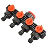 KQ_ FP- 4 Way Hose Splitter Hose Pipe Adapter Garden Irrigation Watering Tap Con