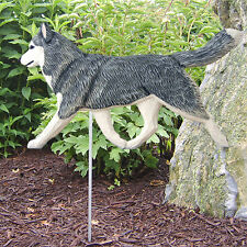 Siberian Husky Outdoor Garden Dog Sign Hand Painted Figure Grey/White