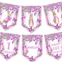 Personalised Birthday Peter Rabbit Flopsy Bunny Bunting Pink Girls 1st 2nd 3rd