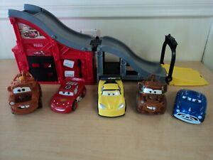 Lot of Disney Pixar Cars Talking Shake N Go Cars & Gas Station Ramp Play Set