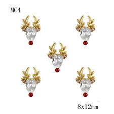 XMas 20Pcs Beaded Alloy Elk Deer Shape Nail Art Rhinestone Gem Decal MC4