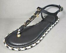 Chanel 36C Black Grosgrain & Leather Woven Trim Gold CC Thong Sandals Flats NEW