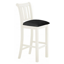 White Bar Stool Padded Upholstered Seat Cushion Solid Wood Kitchen Dining Room