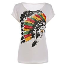 66eb2d121ebeb2 Womens Indian Headdress Print Top Batwing Sleeve Western T-Shirt White Size  S