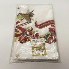 Vintage Fairfield Cotton Christmas Tablecloth #245 Lantern Holly Bells 52x70 New