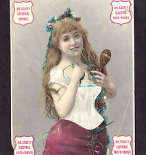 Dr Scotts Electric Corset Quack Tooth Brush Hair Curler old Victorian Trade Card