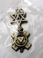 ZP423 Freemason Jewel Pendant Masonic Ornate Compass Star of David Hebrew text