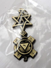 ZP423 Freemason Jewel Pendant Masonic Ornate Compass Star of David Hebrew text