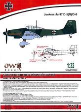 Owl Decals 1/32 JUNKERS Ju-87D-5 (N) D-8 STUKA NACHTSCHLACHT