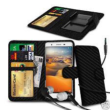 For Karbonn Titanium S5 Plus - Clip On PU Leather Wallet Case & Earphone