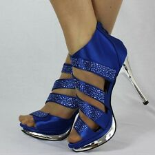 927 PARTY PROM WEDDING SATIN STYLE PLATFORM SHOES WITH DIAMANTE STRAPS SIZE 3-7