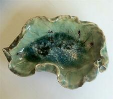 Beautiful Vintage Leaf Shaped Pottery Bowl with Firing Glass in the Center