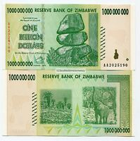 Zimbabwe 1 Billion Dollars 2008 AA Uncirculated Banknote P83 Inflation Currency