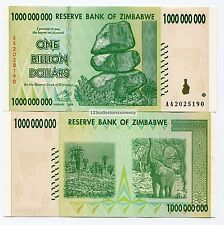Zimbabwe 1 Billion Dollars 2008 AA Uncirculated Banknote P83 Inflation Currency