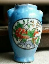 Vintage ceramic Miniature Vase with Bird And Flowers, made in Japan