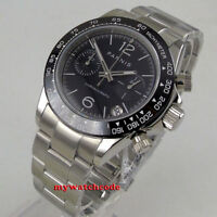 39mm PARNIS Black dial sapphire glass date full Chronograph quartz mens watch