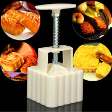 100g Square DIY Baking Mooncake Mold Pastry Biscuit Moon Cake Fower w/4 Stamps