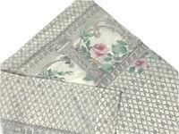 Thomaston Bedding Vintage Percale Pillowcase 1970s Gray Cream Pink Floral Retro