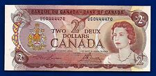 1974 CANADA two 2 DOLLAR BILL NOTE prefix UGO CRISP UNC