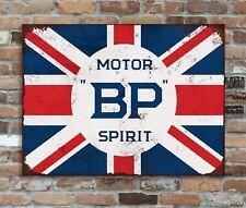 BP Motor Spirit Sign Cast Iron BP Motor Spirit Union Jack British Petroleum