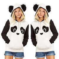 Donna Cartone Animato Panda Maglione Tasca Felpa con Cappuccio Maglia Giacca E