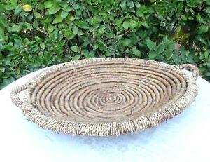 Vintage Woven Coil Basket Large 24' Round Wall Decor Tribal Boho Sea Grass