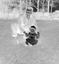 Vintage Black & White Kodak Negative - Smiling Man with Baby In The Park outdoor