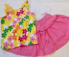 Nwt Gymboree 2pc Outfit Summer Spring Yellow Floral Tank Top/Pink Skort 4/4T