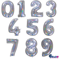 "Giant 40"" HOLOGRAPHIC SILVER Foil Number Helium BALLOON 0123456789 Any Age"