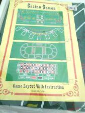 "Black Jack Craps Casino Games Green Felt Mat 36"" x 72"" Game Layout"