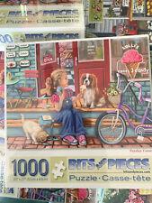 1000 piece sealed NEW artist jigsaw puzzle Yorkie girl lemonade stand kitten dog