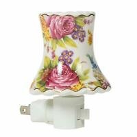 Floral Mini Lampshade 3x4 Porcelain Wall Plug-In Night Light