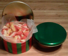 2-LB   RED AND GREEN GIFT TIN OF OLD SCHOOL PEACH BUDS CANDY W/COCONUT CENTER