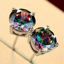 18K White Gold Filled - Round Cubic MYSTICAL Rainbow Topaz Luxury Earrings Studs