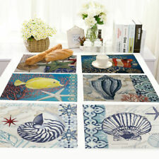 Aquatic Life Insulation Placemat Dining Table Mat Home Kitchen Cotton Linen