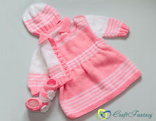 Hand Knitted Baby Dress Cardigan Hat and Booties Set 3-6 months