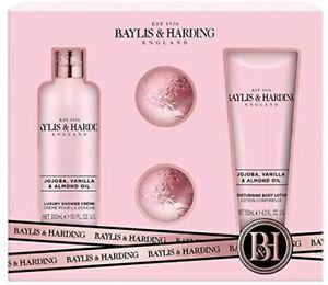 Baylis & Harding Jojoba,Vanilla&Almond Oil-Gift Set, Shower gel -2x Bath Fizzers