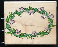 OVAL FLOWER ROSE WREATH Hero Arts Wood Mounted Rubber Stamp
