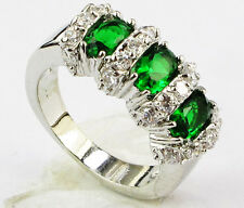 1249 Lady/Women's Green Sapphire 14KT White Gold Filled Wedding Ring Gift size 7
