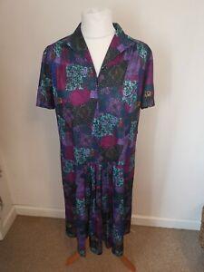 Vintage Norman Linton Size 20 Multicolour Patchwork Style 1980s Tea Dress
